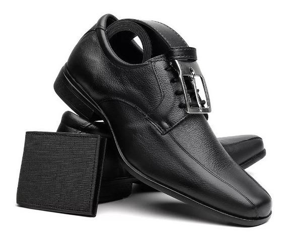 Sapato Social Masculino Em Couro + Cinto + Carteira -baixou!