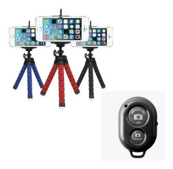 Mini Tripé Flexível Universal P Celular E Controle Bluetooth