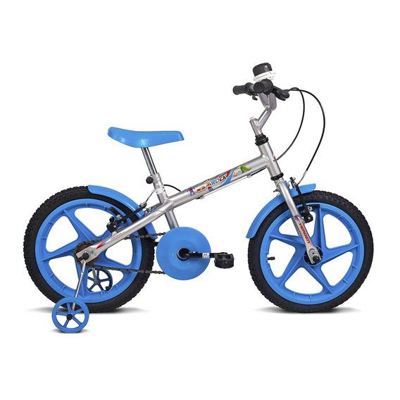 Bicicleta Infantil Aro 16 Rock Prata E Azul Verden Bikes