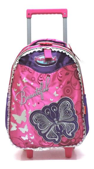 Mochila Infantil Borboleta Beautiful Glitter Rodinhas G Rosa