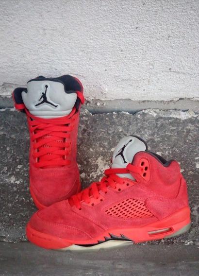Air Jordan 5 Retro Gs Red Suede Originales # 23 Mex
