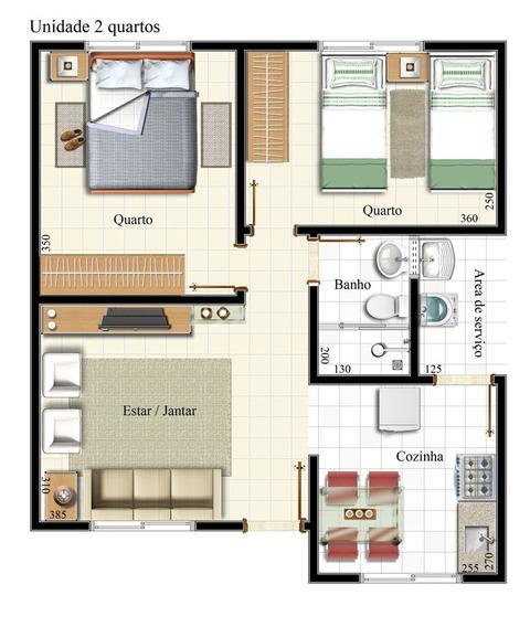 Casa De 2 Quartos Reversível Para 3 Quartos