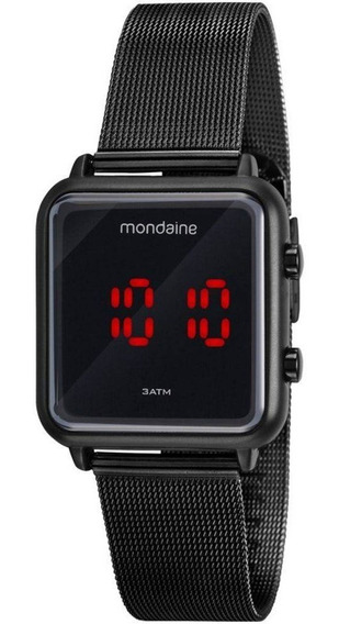 Relógio Mondaine Quadrado Unisex Preto Digital 32008mpmvpe3