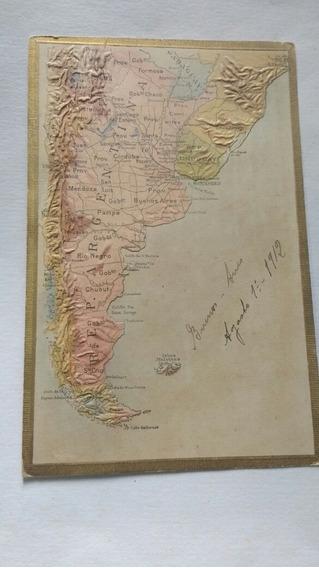 Postal Antigua Argentina Mapa Relieve Usada 1912