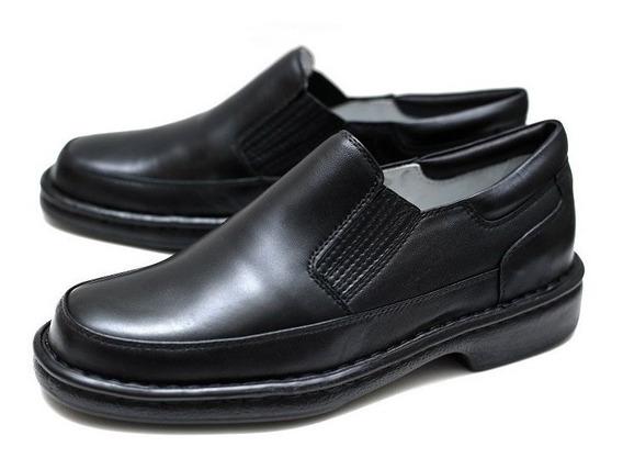 Sapato De Couro Anti-stress Sem Cadarço Para Esporão E Diabéticos