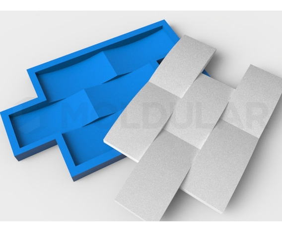 Forma Para Gesso 3d - Tijolinho Concavo 100% Silicone.