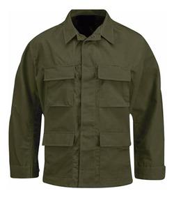 Chaquetilla Tactica Corte Bdu Ripstop Verde Militar
