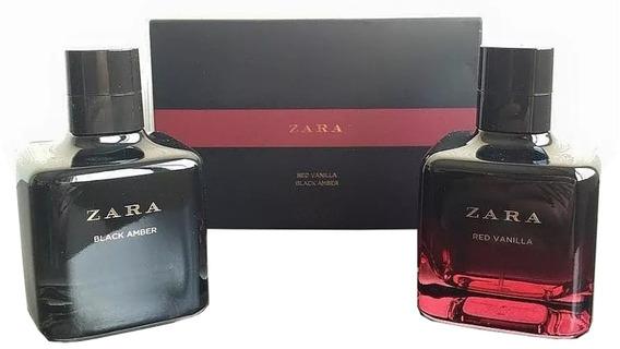 Kit Perfume Zara Red Vanilla + Black Amber 100 Ml Cada