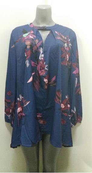 Blusón Azul Con Diseño Floral - Talla M