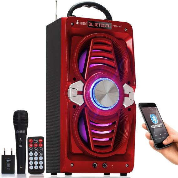 Caixa De Som Bluetooth Portatil Amplificada Radio Microfone