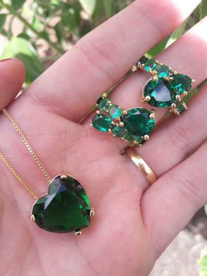 Conjunto Verde Esmeralda Semijóia Folheada Ouro 18k