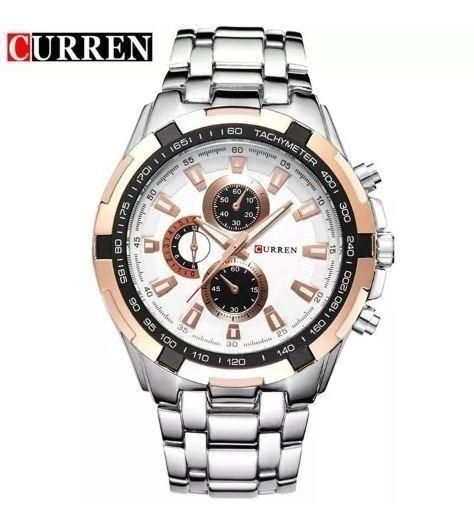 Relógio Masculino Curren Prata Preto 8023 Sem Juros