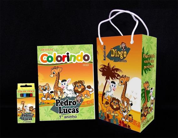 30 Kit De Colorir Safari Revista Sacola Giz Lembrança