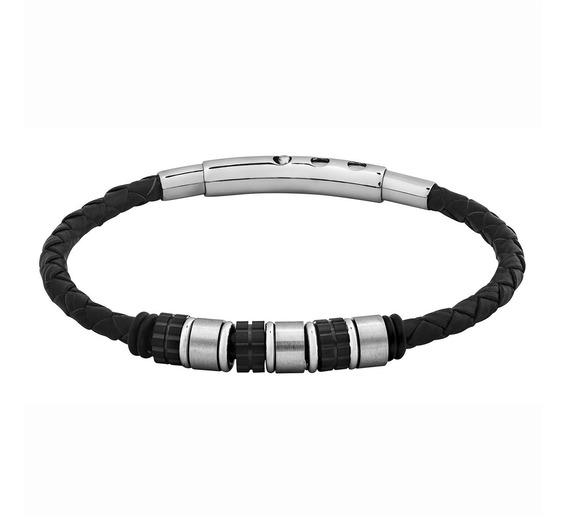 Pulseira Convex Em Couro Rollers Steel 2700592