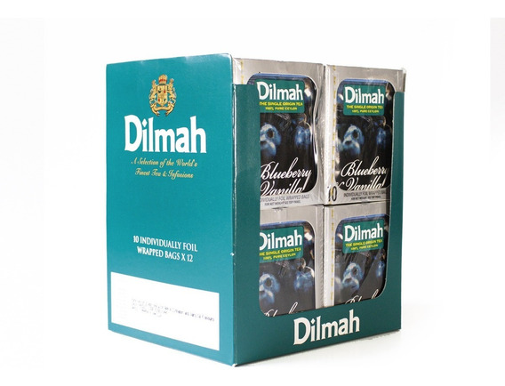 Té Negro Dilmah Arándano Vainilla Display 12 Unidades.