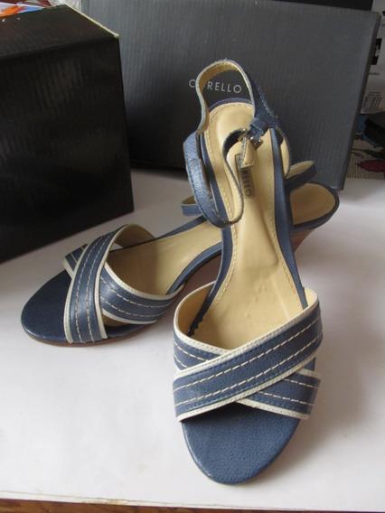 Sandálias Corello De Couro E Linho Azul Com Creme Nº39