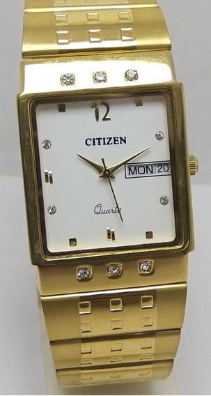 Relógio Citizen Quartz Raro Vintage Mostrador Branco Masculi