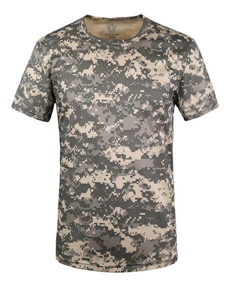 Camouflage Militar De Los Hombres Camiseta Ejército Combate