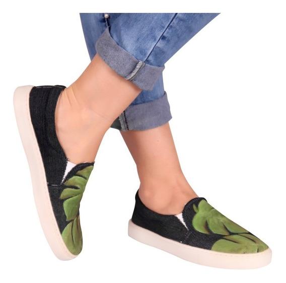 Tênis Feminino Sapatenis Sliper Jeans Pintado A Mão Conforto