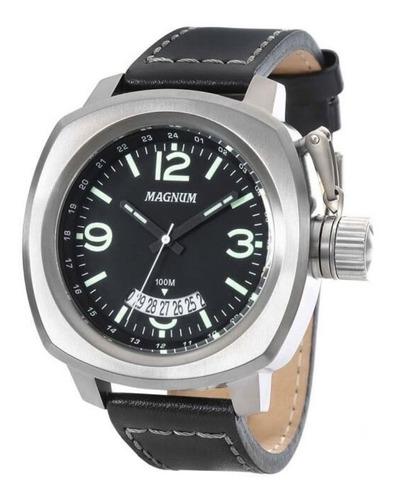 Relógio Magnum Masculino Couro Preto Militar Ma34138p