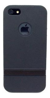 Capa Case Rígido Preto Abertura Maçã iPhone 5 5s Se