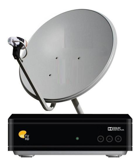 Kit Oi Tv Livre Hd Receptor + Antena De 60cm Cabo + Ku Duplo