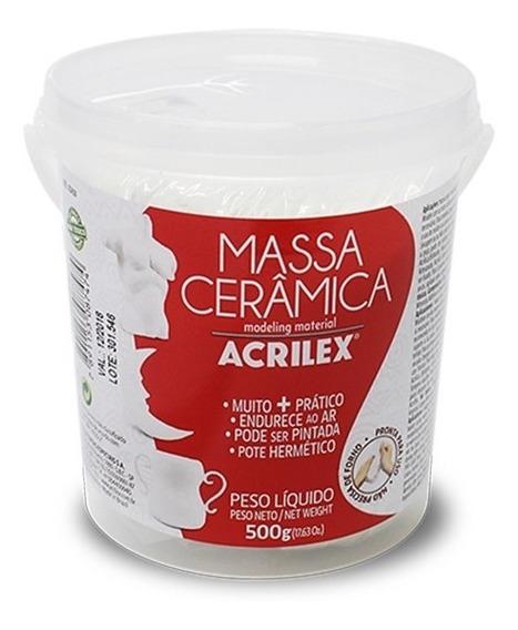 2x Massa Modelar Escultura Ceramica Fria Acrilex 500g Branca