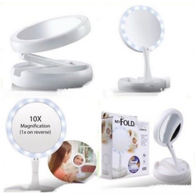 Espelho Portatil Aumento 10x Luz Led De Mesa Dobravel Luxo