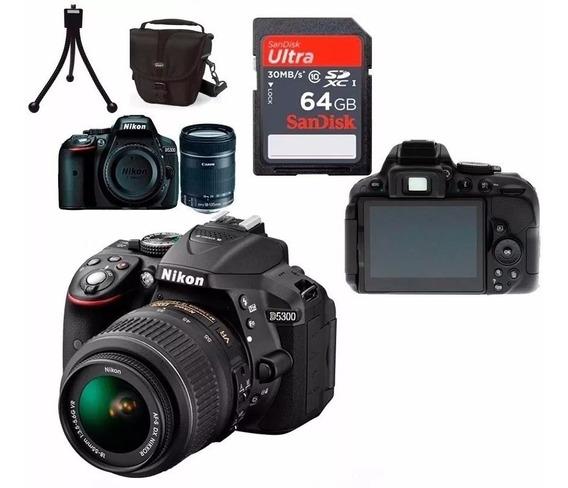 Câmera Nikon D5300 Full Hd 18-55mm+64gb C/10+bolsa+tripé S/j