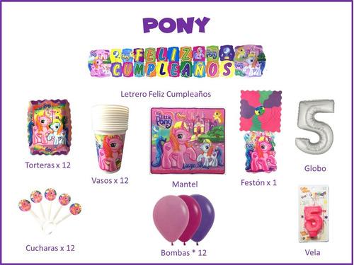 Imagen 1 de 1 de Kit Decoración Celebra En Casa Fiesta Cumpleaños Pony