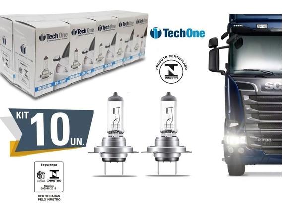 Kit 10 Lampada Halogena H7 3000k 24v Caminhao 70w Techone