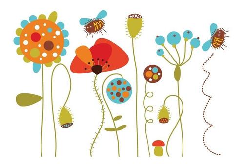 Vinilo Decorativo Floral-i 01. Calcomanía Flores Y Abejas.