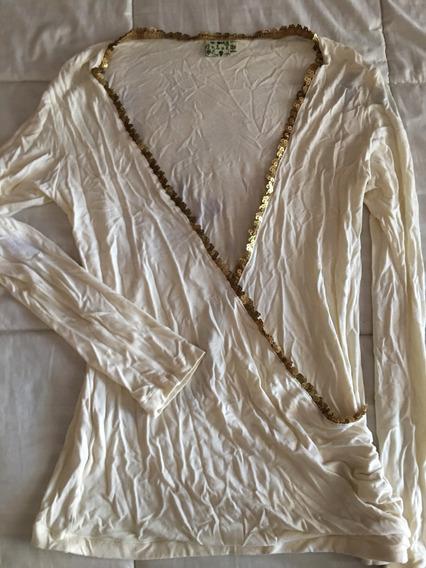 Remera Mujer Gran Escote Con Lentejuelas Doradas