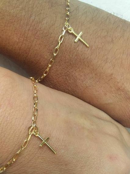 Pulseira Casal Namorados Presente Banhado A Ouro Cruz