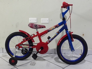 Bicicleta Aro 16 Masculina Vermelha E Azul Homem Aranha