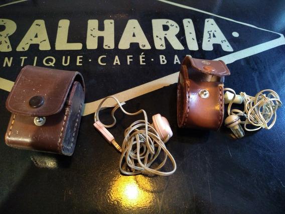 Dois Fones De Rádios Antigos Com Bolsas Originais De Couro