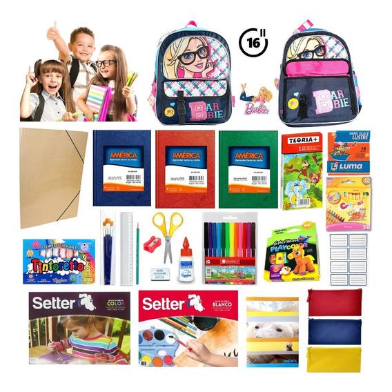 Kit Escolar Primaria Incluye Mochila + Cartuchera + Útiles