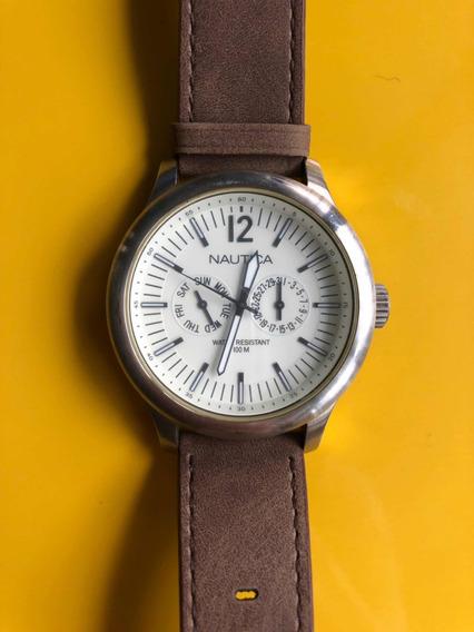Relógio Náutica Couro/caixa Em Aço N12606g