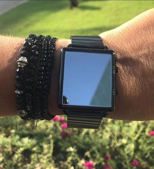 Relógio Euro Fashion Fit Reflexos Preto Quadrado