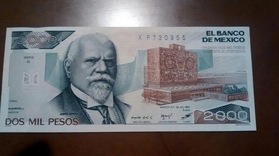2 Billetes $2000 Pesos Justo Sierra Año 1989 Nuevo
