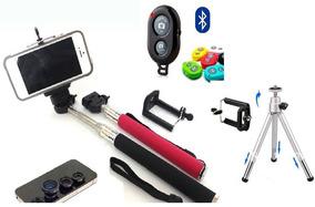 Pau De Self Mini Tripé + Com Controle Bluetooth + Kit Lentes
