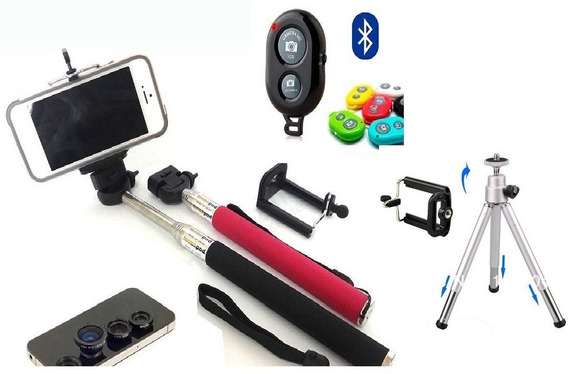 Pau De Self Mini Tripé + Com Controle Bluetooth + Kit Lentes