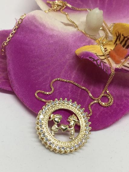 Colar Mandala - Filhos Casal -semi-jóia - Dourado + Emb. Esp