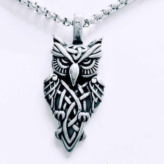 Coruja - Colar Nórdico Aço Inoxidável Viking/runas