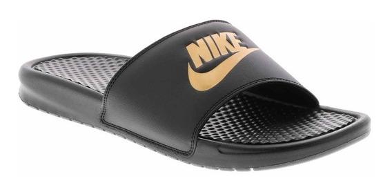 Ojotas Chinelas Nike Benassi Jdi Negro Dorado 343880-016