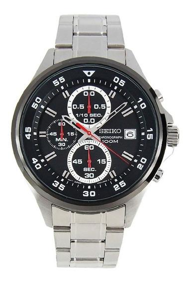Relógio Seiko Masculino Cronógrafo Aço Prateado Fundo Preto Original Sks633b1 P2sx