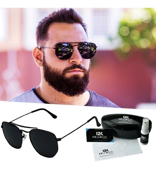 Oculos De Sol Masculino Quadrado Uv400 Preto Hexagonal Metal