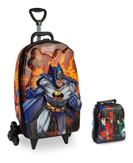 Kit Mochila 3d Infantil 3 Rodinhas E Lancheira Batman Beware