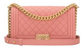 Chanel Boy Média Pink Couro Caviar