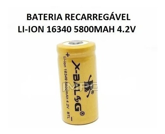 Mini Bateria Recarregável Cr123a 16340 4.2v 5800mah